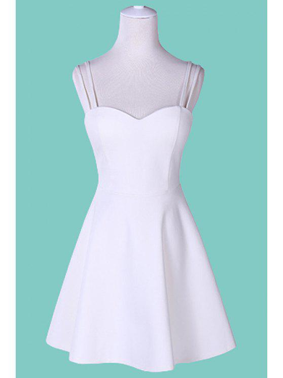 fancy Solid Color Spaghetti Strap Backless Dress - WHITE S