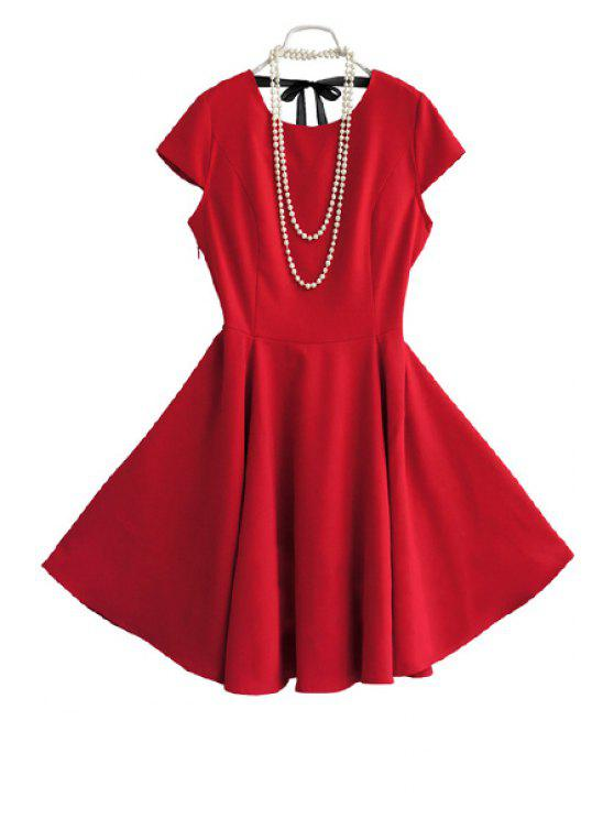 shops Solid Color Tie-Up Short Sleeve Dress - RED S