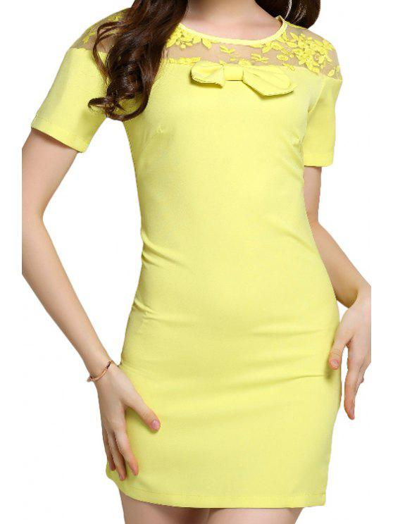 chic Bowknot Floral Pattern Voile Splicing Dress - YELLOW S