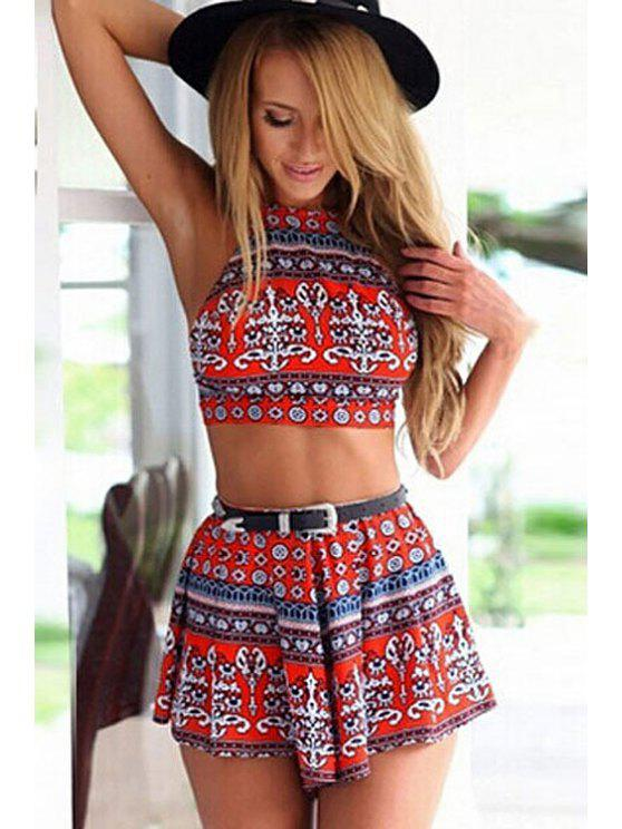 best Print Sleeveless Crop Top and Pantskirt Suit - RED L