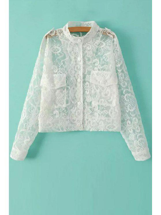 sale Solid Color Embroidery See-Through Coat - WHITE ONE SIZE(FIT SIZE XS TO M)