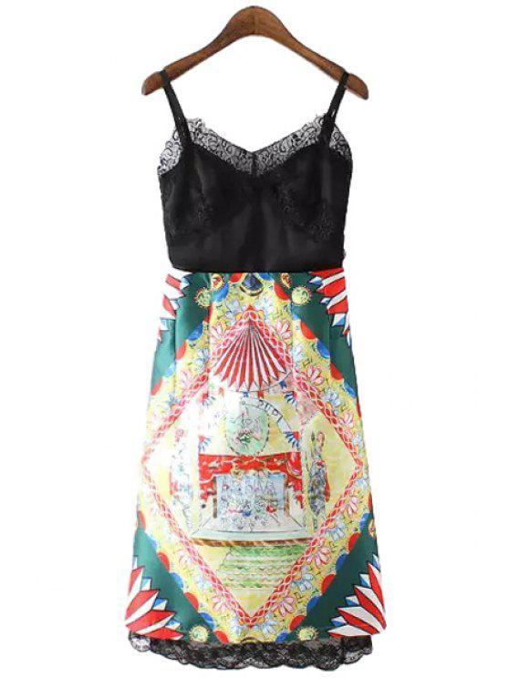 online Lace Splicing Color Block Print Dress - COLORMIX S