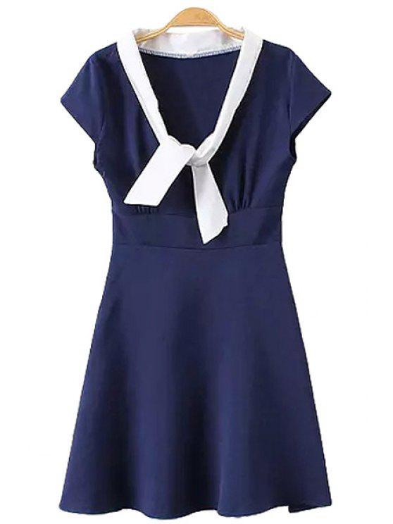 affordable White Edging Short Sleeve Dress - PURPLISH BLUE M