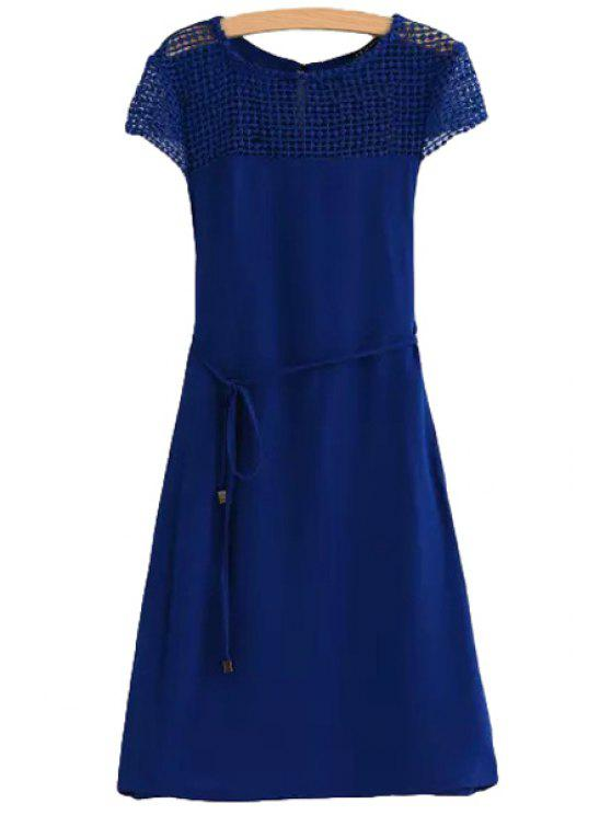 new Shoulder Lace Splicing Openwork Tie-Up Dress - BLUE L