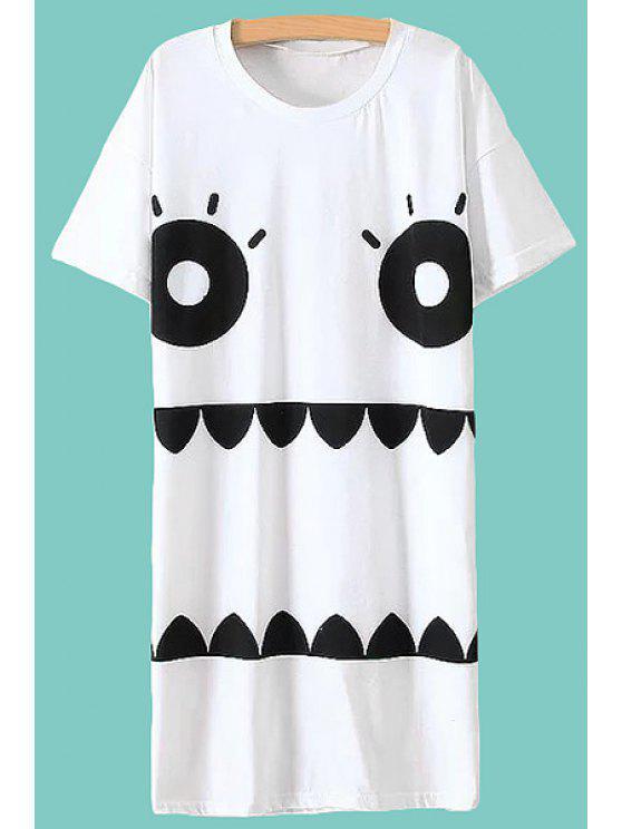 outfits Cartoon Face Print Short Sleeve Dress - WHITE M