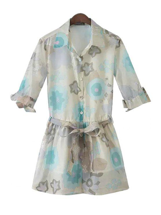 outfit Turn-Down Collar Floral Print Tie-Up Dress - COLORMIX S