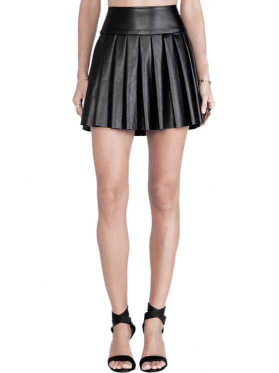 online Solid Color PU Leather Pleated Skirt - BLACK L