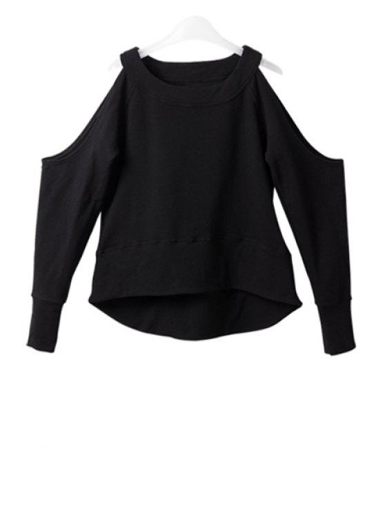 ladies Solid Color Off-The-Shoulder Long Sleeve T-Shirt - BLACK XS