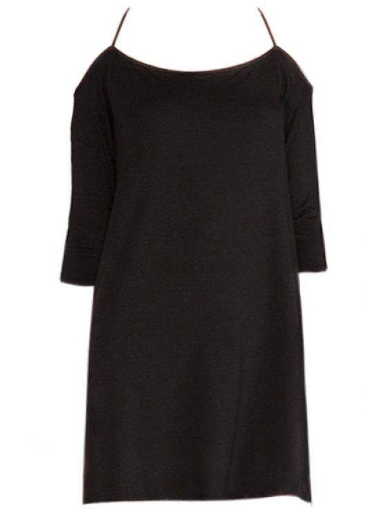 lady Off-The-Shoulder Backless Half Sleeve Dress - BLACK S