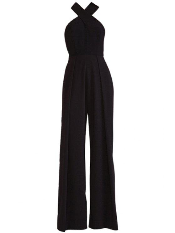 ladies Cross Backless Solid Color Jumpsuit - BLACK XS