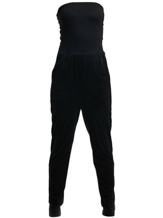 outfit Strapless Solid Color Sleeveless Jumpsuit - BLACK XS