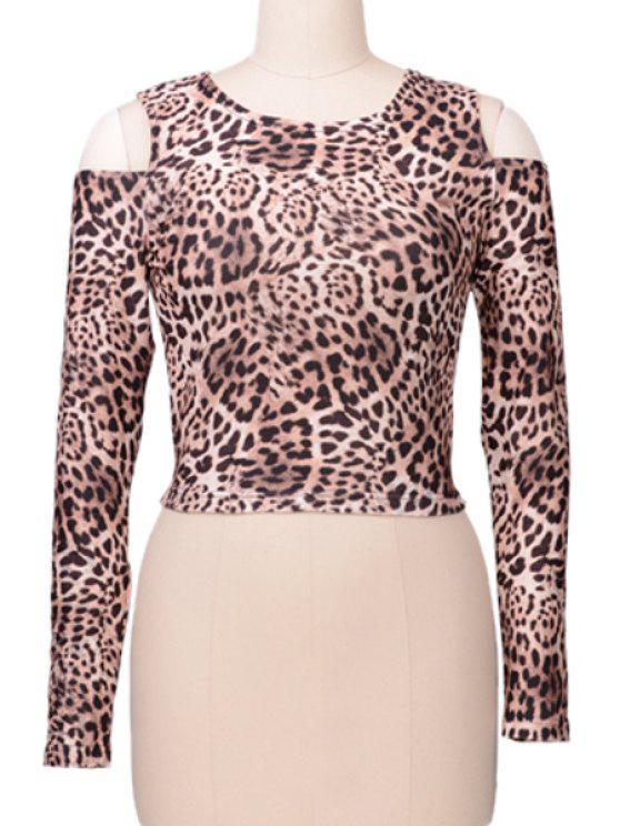 womens Leopard Pattern Off-The-Shoulder T-Shirt - LEOPARD S