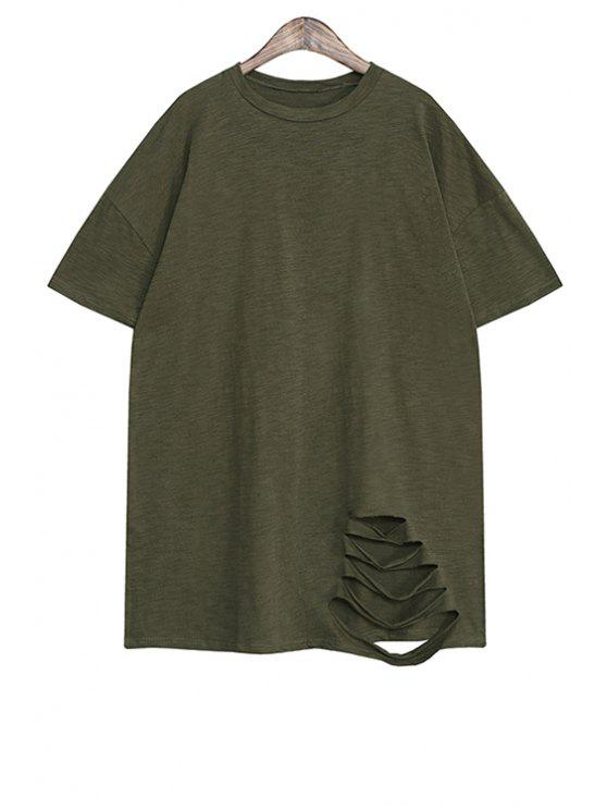 shop Broken Hole Short Sleeve T-Shirt - GREEN ONE SIZE(FIT SIZE XS TO M)