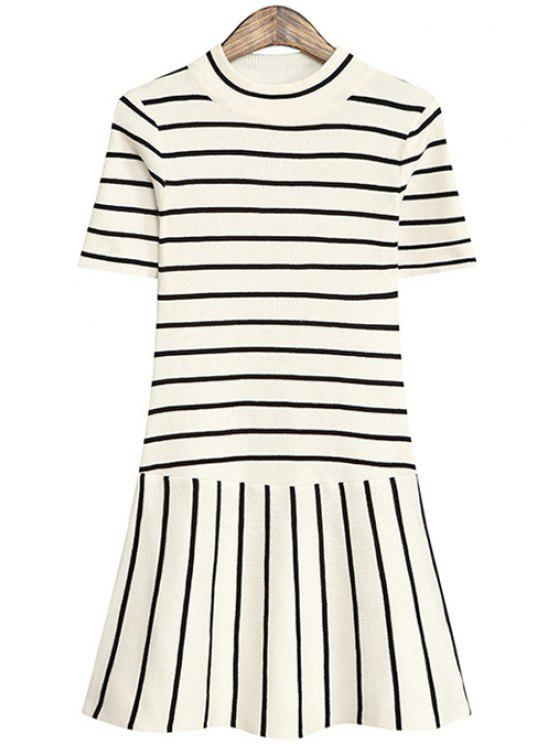 chic Striped Short Sleeve Knit Dress - WHITE ONE SIZE(FIT SIZE XS TO M)
