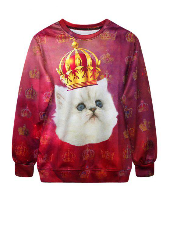 buy Cat Crown Print Long Sleeve Sweatshirt - RED ONE SIZE(FIT SIZE XS TO M)