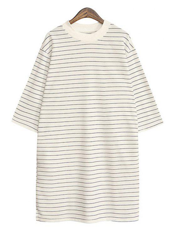 fancy Striped Half Sleeve T-Shirt - WHITE ONE SIZE(FIT SIZE XS TO M)