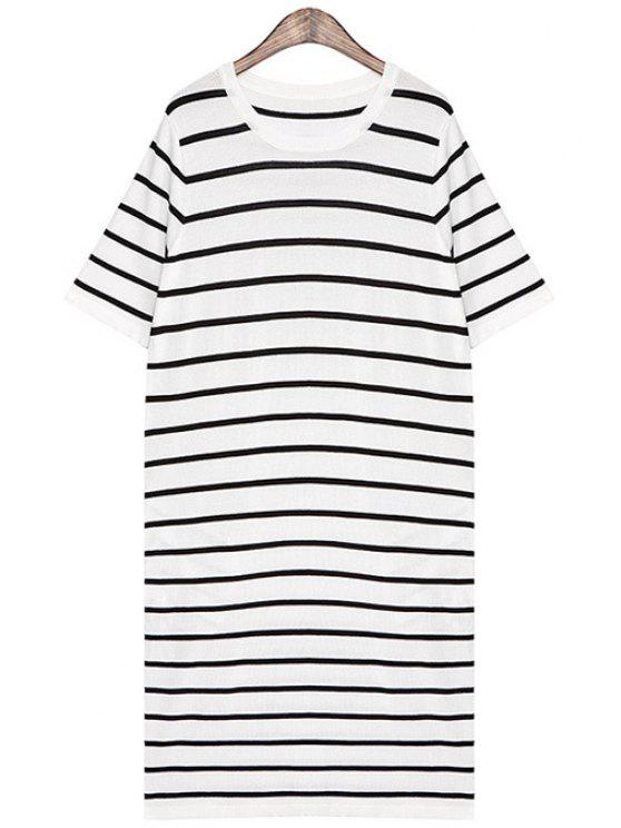 women Striped Straight Short Sleeve Dress - WHITE ONE SIZE(FIT SIZE XS TO M)