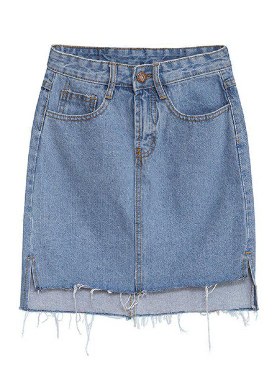 trendy Denim Solid Color Skirt - LIGHT BLUE S