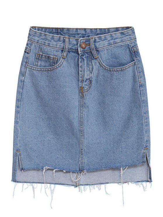 trendy Denim Solid Color Skirt - LIGHT BLUE S
