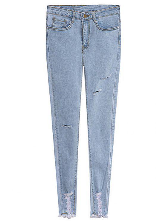hot Solid Color Broken Hole Skinny Jeans - LIGHT BLUE S