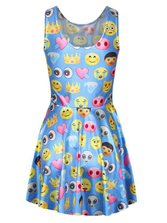 sale Emoji Print Sleeveless Dress - BLUE ONE SIZE(FIT SIZE XS TO M)