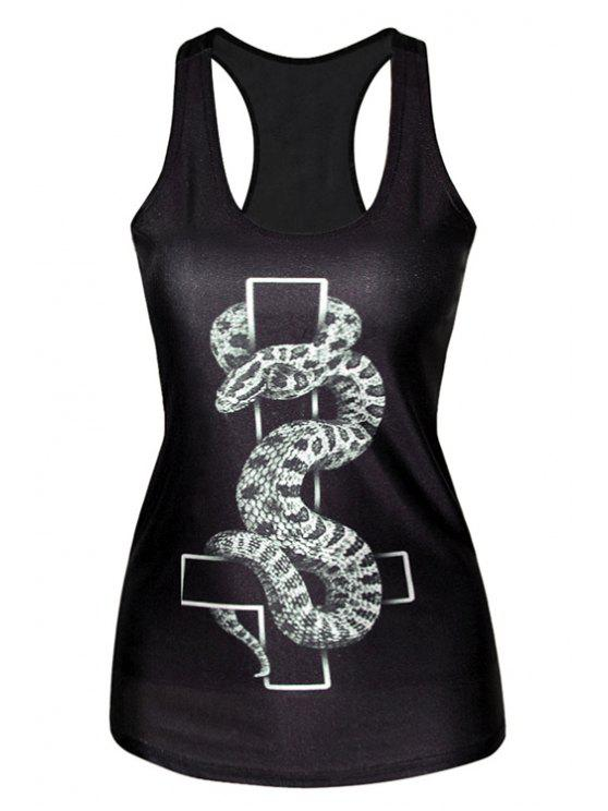 shops Snake Print Sleeveless Tank Top - BLACK ONE SIZE(FIT SIZE XS TO M)