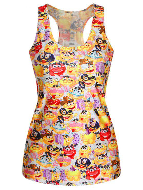 chic Cartoon Emoji Print Racerback Tank Top - YELLOW ONE SIZE(FIT SIZE XS TO M)