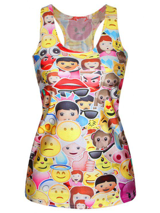 lady Racerback Emoji Face Print Tank Top - YELLOW ONE SIZE(FIT SIZE XS TO M)