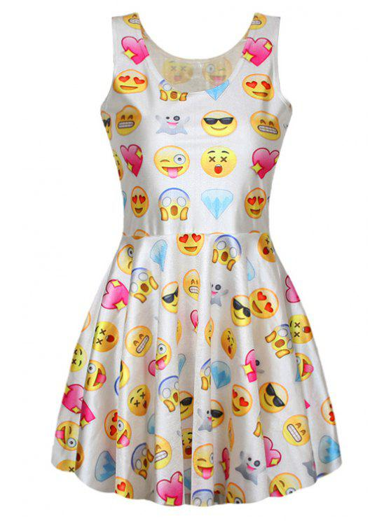 women Full Emoji Print A-Line Sundress - WHITE ONE SIZE(FIT SIZE XS TO M)