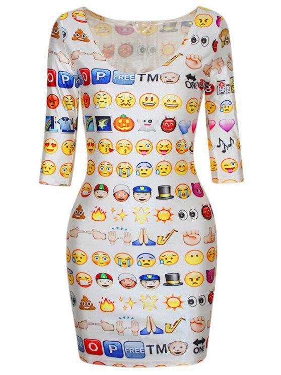fashion Emoji Print Half Sleeve Bodycon Dress - WHITE ONE SIZE(FIT SIZE XS TO M)