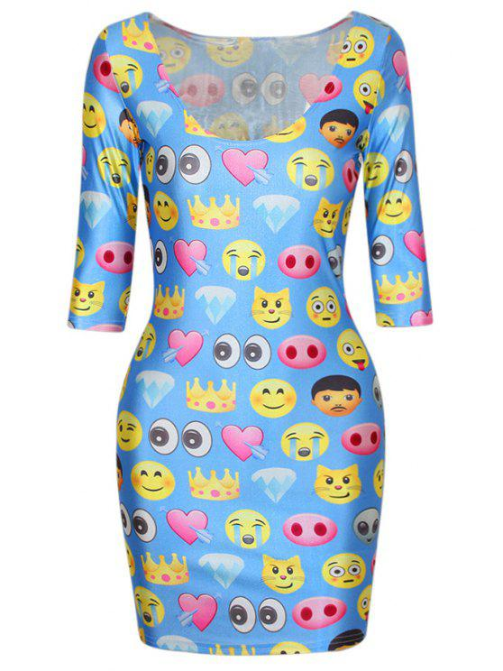 chic Emoji Print Blue Half Sleeve Bodycon Dress - BLUE ONE SIZE(FIT SIZE XS TO M)