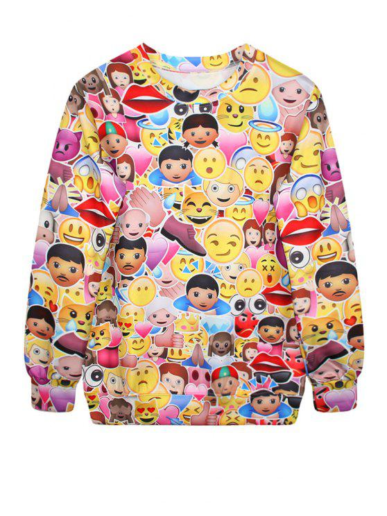 women's Colorful Emoji Print Long Sleeve Sweatshirt - YELLOW ONE SIZE(FIT SIZE XS TO M)