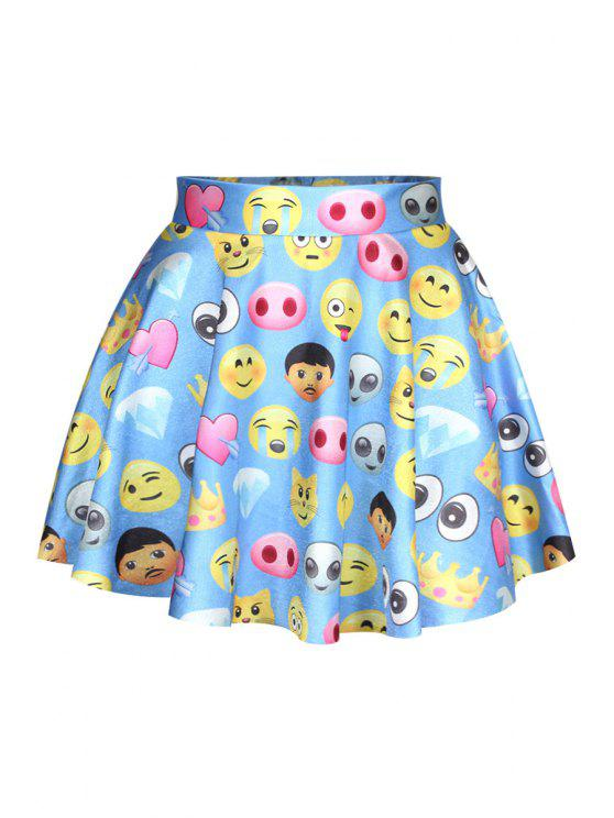 women's Face Print Elastic Waist Skirt - BLUE ONE SIZE(FIT SIZE XS TO M)