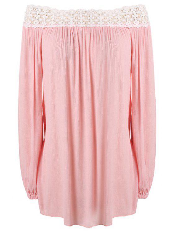 buy Slash Neck Lace Splicing Ruffle Dress - PINK S