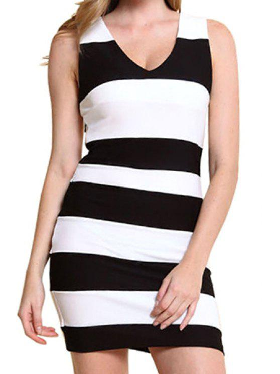 shops Stripe Side Zipper Sleeveless Dress - WHITE AND BLACK S