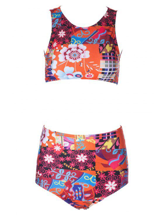 hot Flower Print High Waisted Bikini Set - COLORMIX M