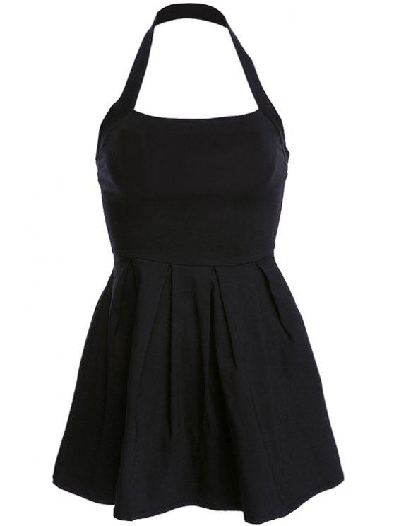 hot Solid Color Backless Ruffle Sleeveless Dress - BLACK S