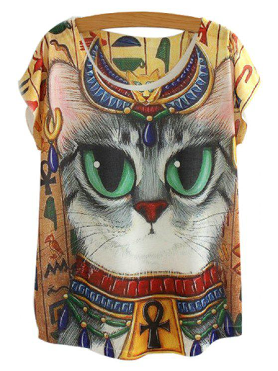 chic Cat Pattern Short Sleeve T-Shirt - DEEP YELLOW ONE SIZE(FIT SIZE XS TO M)