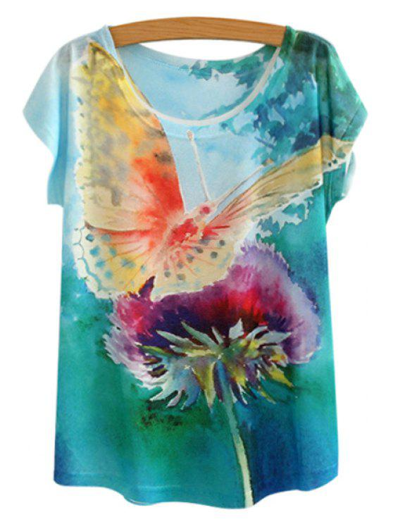 fancy Butterfly Pattern Short Sleeve T-Shirt - GREEN ONE SIZE(FIT SIZE XS TO M)