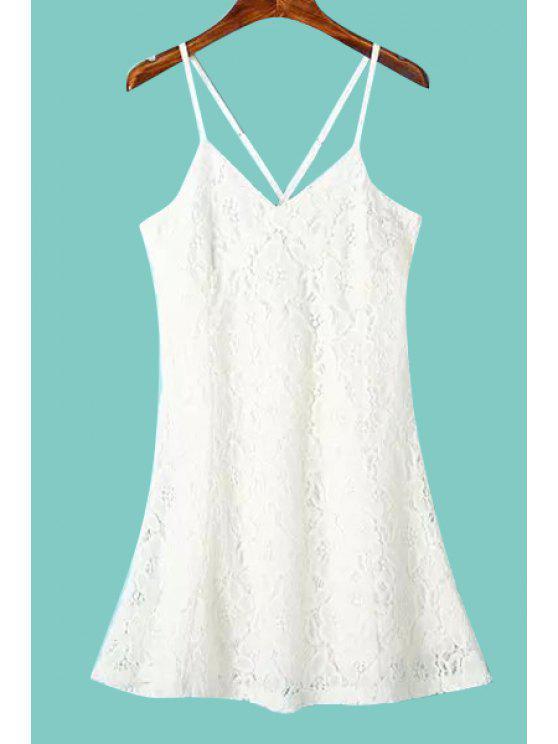 shops Spaghetti Strap Solid Color Lace Dress - WHITE S