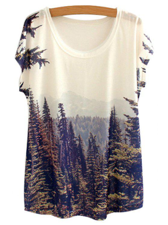 unique Scenery Pattern Short Sleeve T-Shirt - PURPLISH BLUE ONE SIZE(FIT SIZE XS TO M)