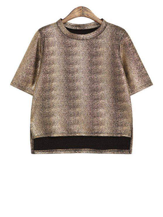 sale Metal Color Short Sleeves T-Shirt - COFFEE ONE SIZE(FIT SIZE XS TO M)