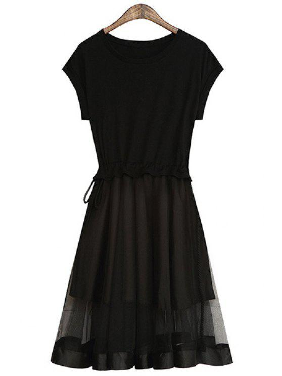 women Short Sleeve Voile Spliced Dress - BLACK ONE SIZE(FIT SIZE XS TO M)