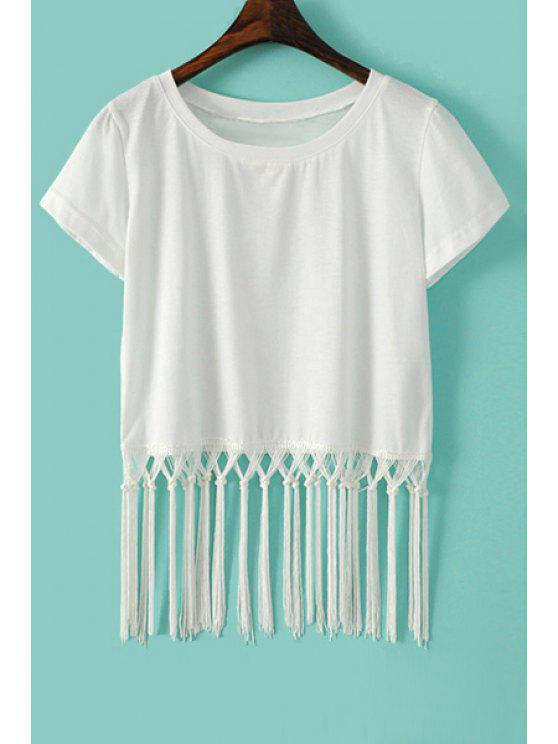 trendy Tassel Splicing Solid Color T-Shirt - WHITE L
