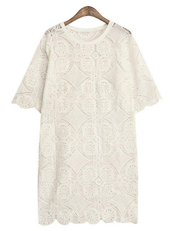 ladies Solid Color Hollow Half Sleeve Dress - WHITE ONE SIZE(FIT SIZE XS TO M)