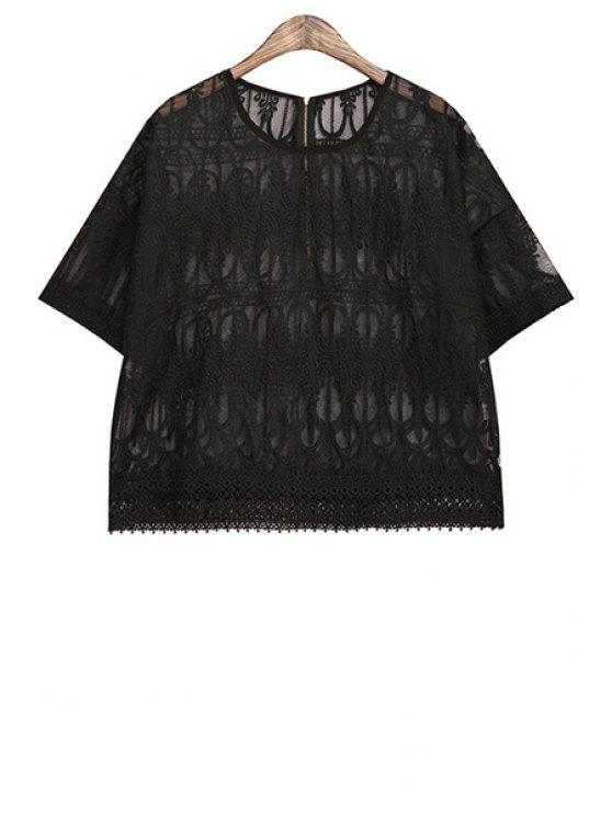 womens Lace Embroidery Short Sleeve T-Shirt - BLACK ONE SIZE(FIT SIZE XS TO M)