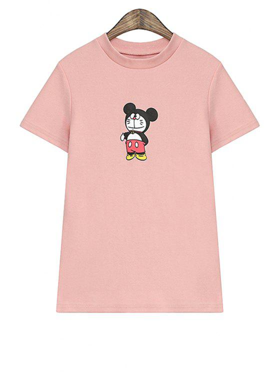 women's Short Sleeves Cartoon Print T-Shirt - PINK ONE SIZE(FIT SIZE XS TO M)