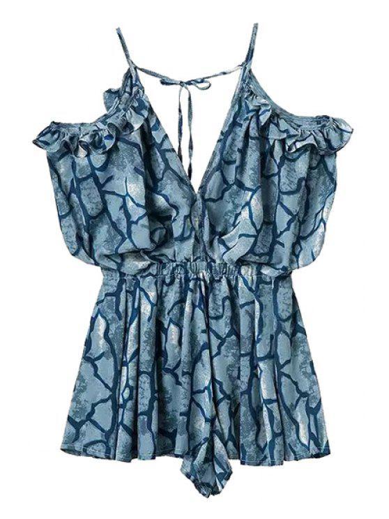 new Stripe Print Tie-Up Sleeveless Romper - DEEP BLUE S