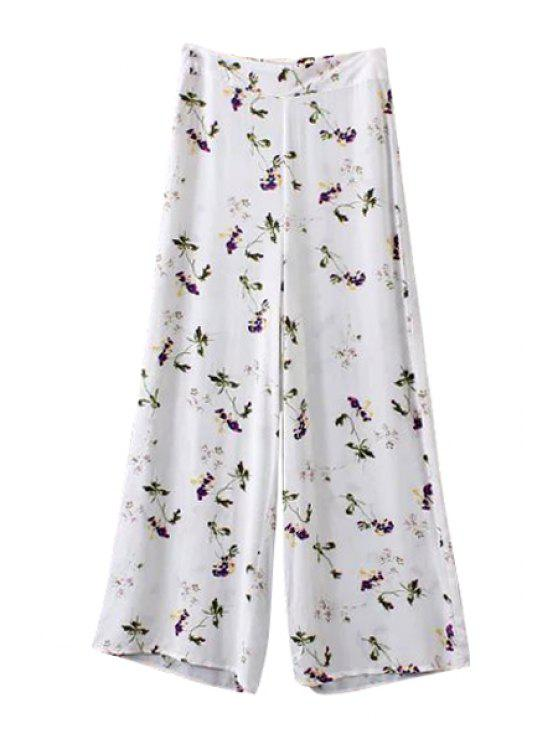shop Tiny Floral Print Loose-Fitting Pants - WHITE S