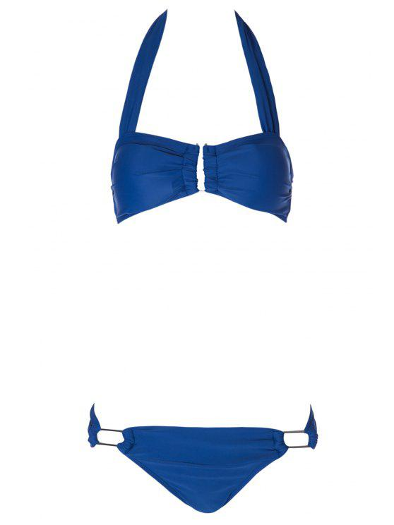 affordable Solid Color Metal Halter Bikini Set - BLUE S